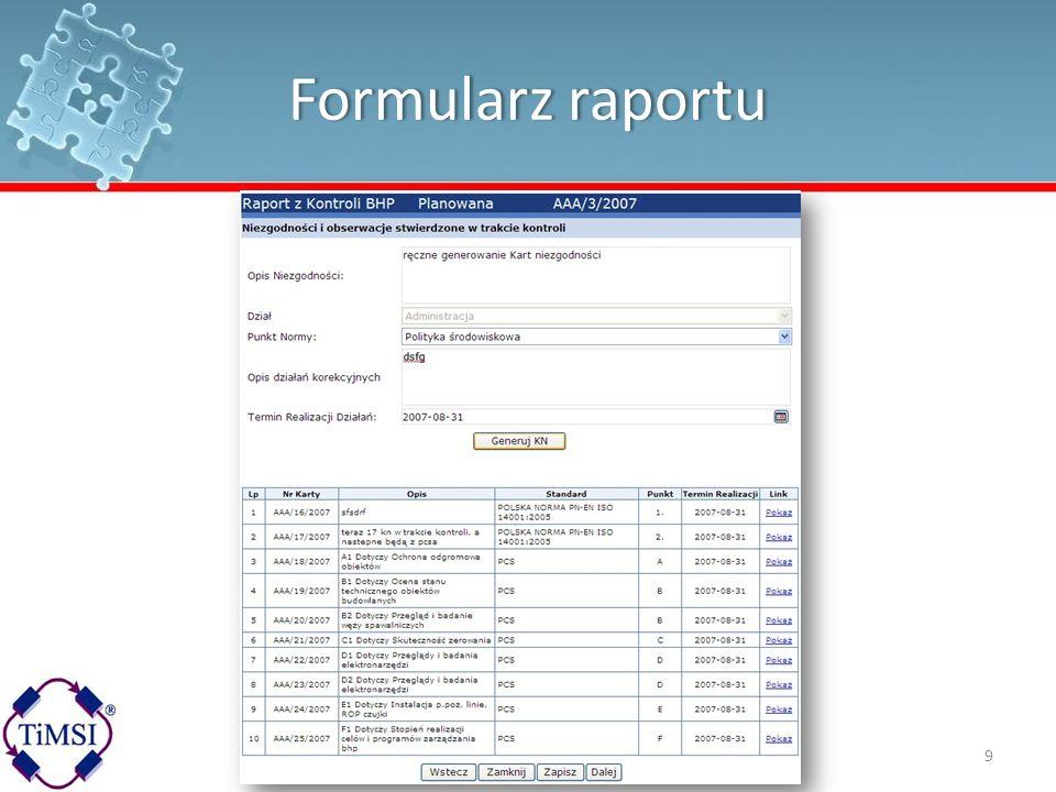 Formularz raportu
