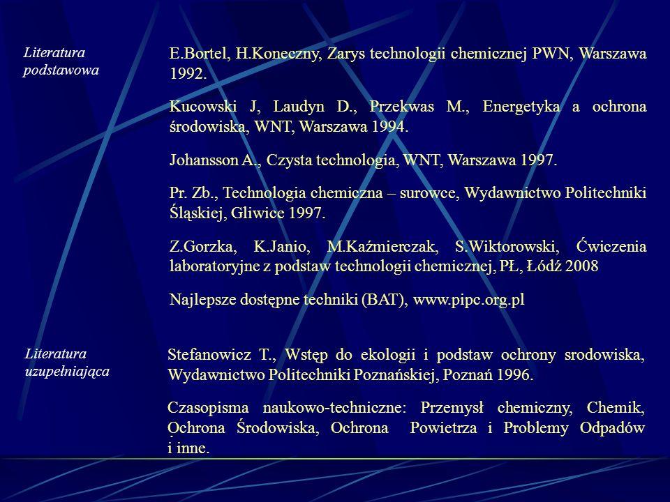 E.Bortel, H.Koneczny, Zarys technologii chemicznej PWN, Warszawa 1992.