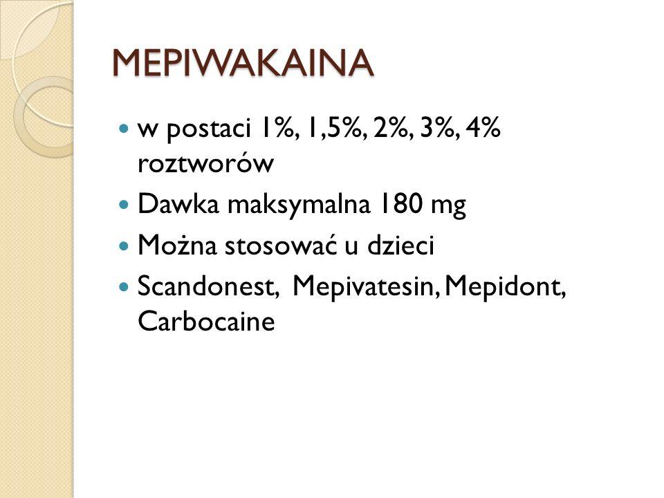 MEPIWAKAINA w postaci 1%, 1,5%, 2%, 3%, 4% roztworów