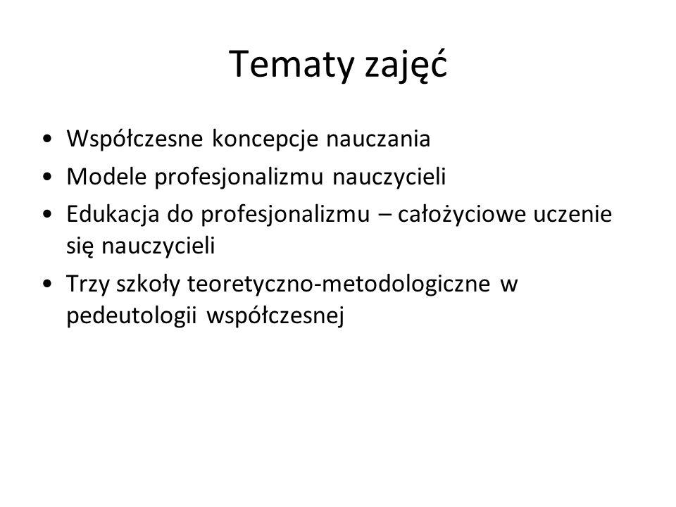 Tematy zajęć Współczesne koncepcje nauczania