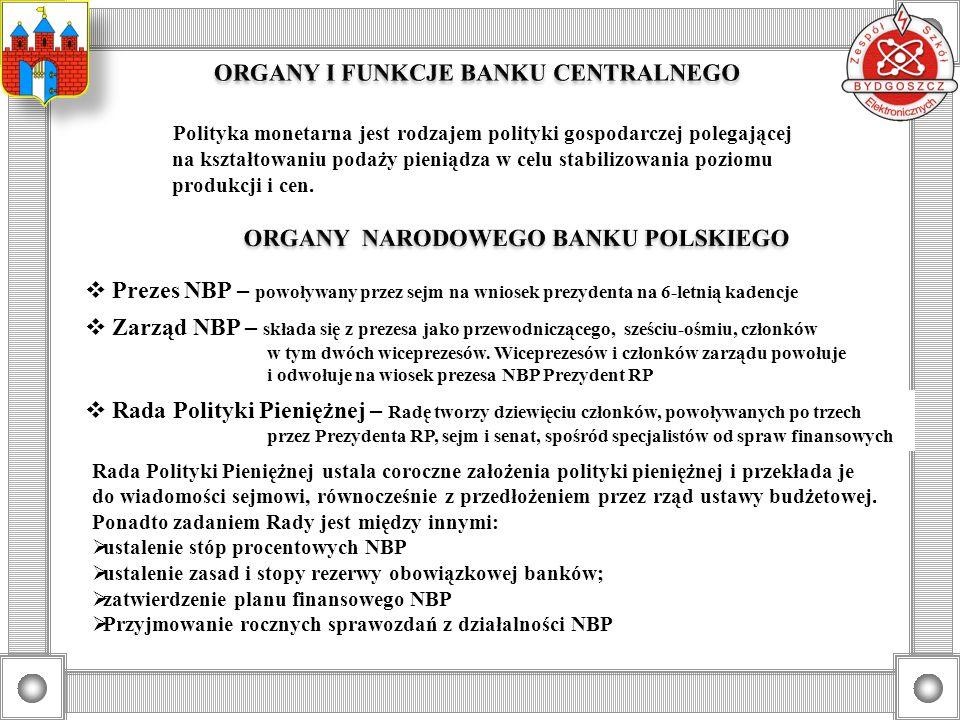 ORGANY I FUNKCJE BANKU CENTRALNEGO