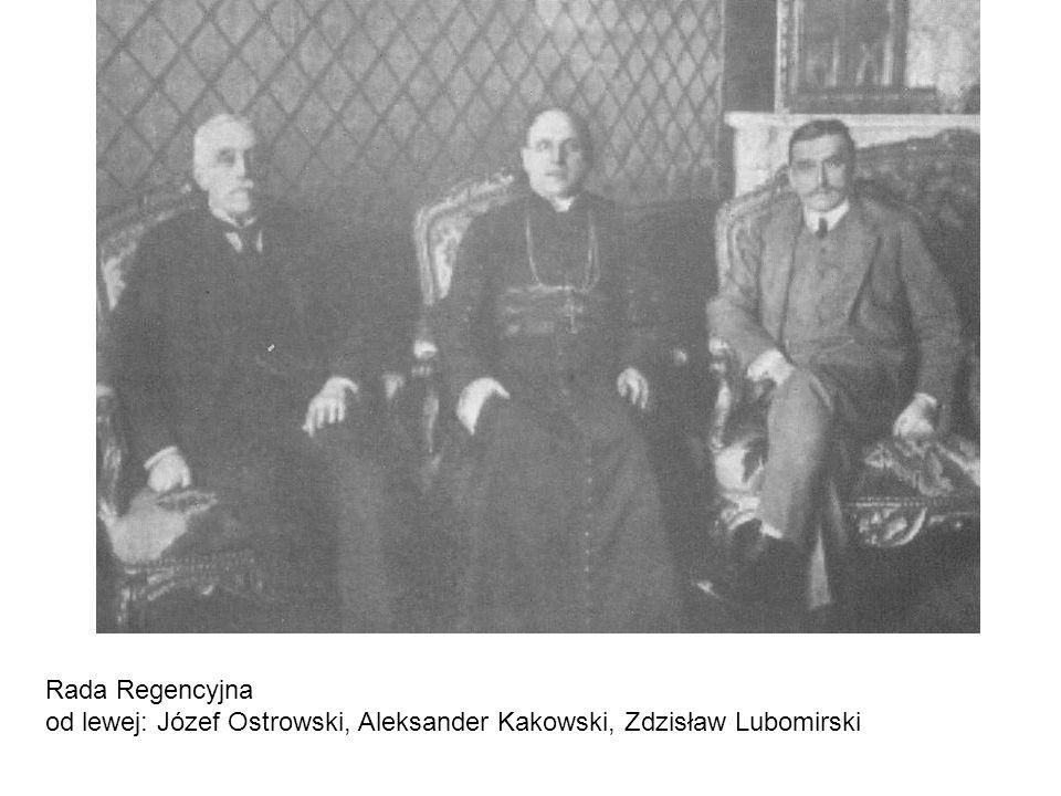 Rada Regencyjna od lewej: Józef Ostrowski, Aleksander Kakowski, Zdzisław Lubomirski