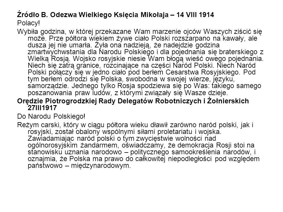 Źródło B. Odezwa Wielkiego Księcia Mikołaja – 14 VIII 1914
