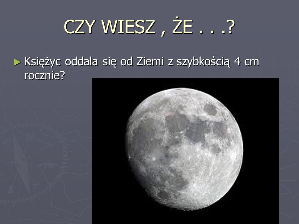 CZY WIESZ , ŻE . . . Księżyc oddala się od Ziemi z szybkością 4 cm rocznie