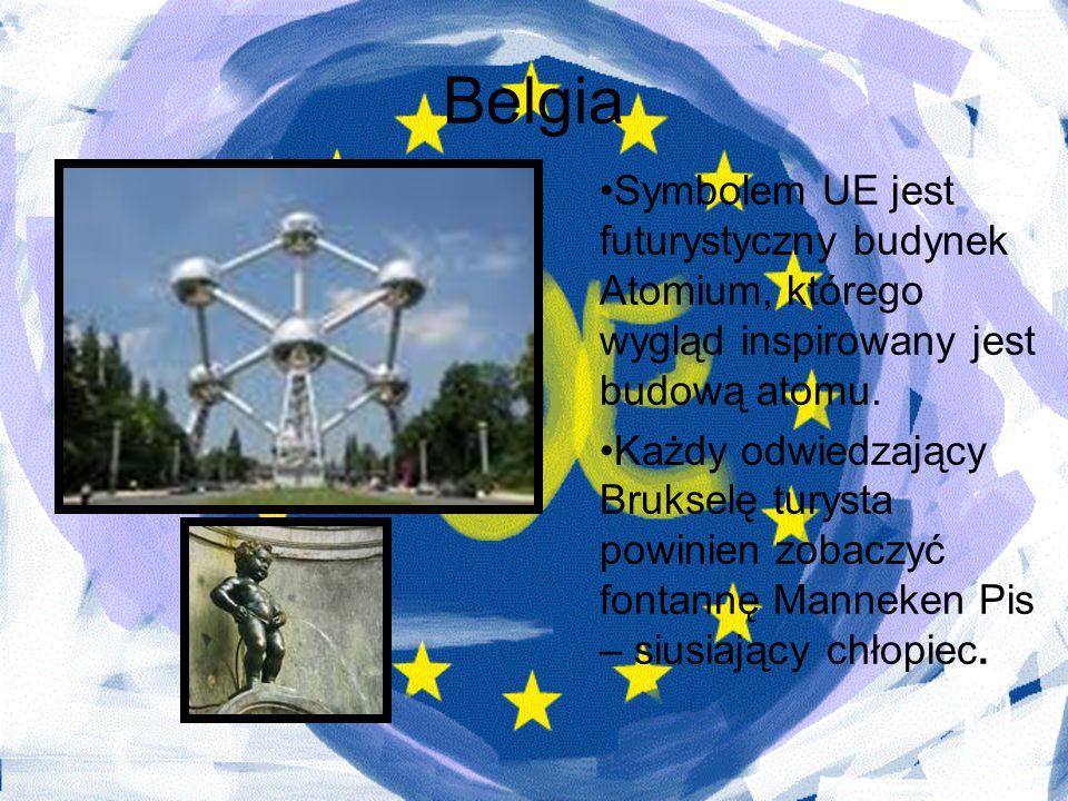Belgia Symbolem UE jest futurystyczny budynek Atomium, którego wygląd inspirowany jest budową atomu.