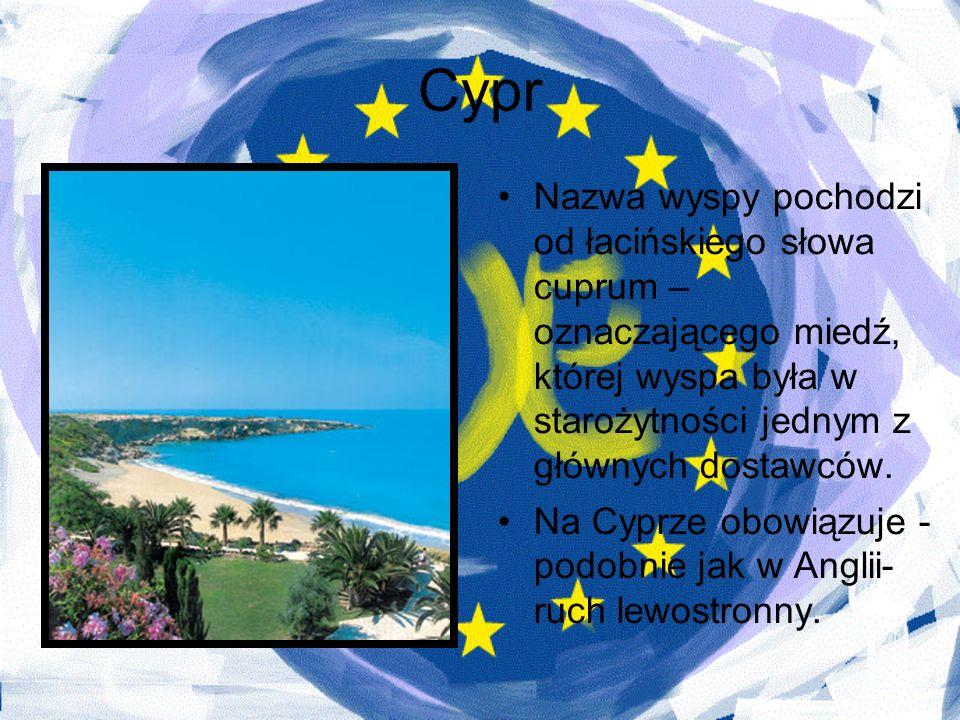 CyprNazwa wyspy pochodzi od łacińskiego słowa cuprum – oznaczającego miedź, której wyspa była w starożytności jednym z głównych dostawców.