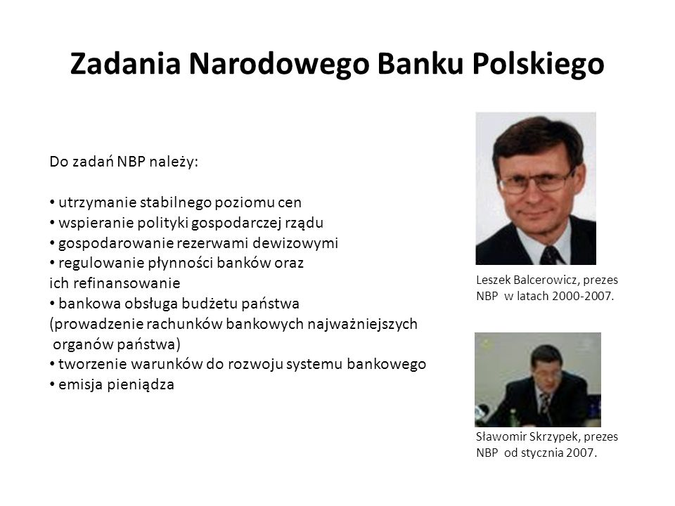 Zadania Narodowego Banku Polskiego