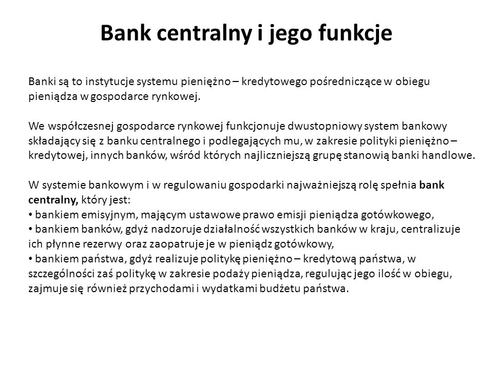 Bank centralny i jego funkcje