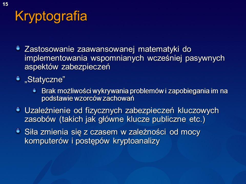 Kryptografia Zastosowanie zaawansowanej matematyki do implementowania wspomnianych wcześniej pasywnych aspektów zabezpieczeń.