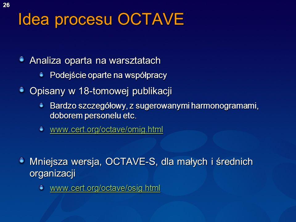 Idea procesu OCTAVE Analiza oparta na warsztatach