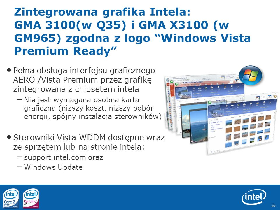 Zintegrowana grafika Intela: GMA 3100(w Q35) i GMA X3100 (w GM965) zgodna z logo Windows Vista Premium Ready