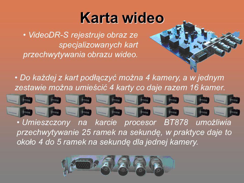 Karta wideo VideoDR-S rejestruje obraz ze specjalizowanych kart przechwytywania obrazu wideo.