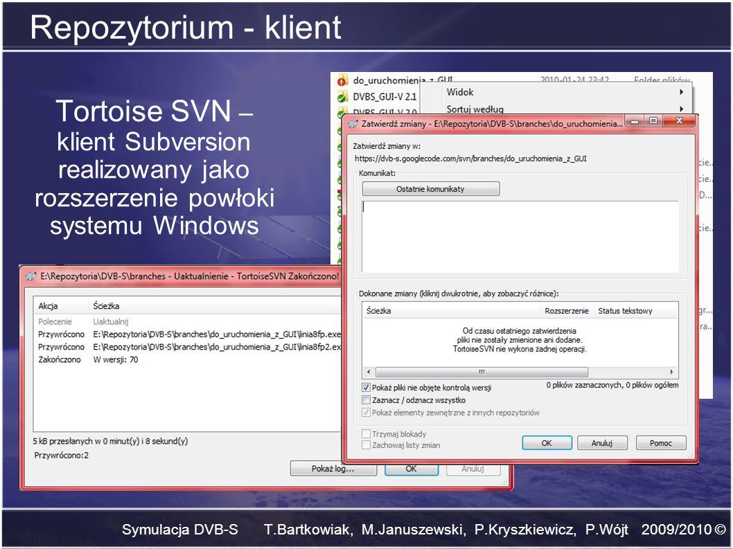 Repozytorium - klientTortoise SVN – klient Subversion realizowany jako rozszerzenie powłoki systemu Windows.