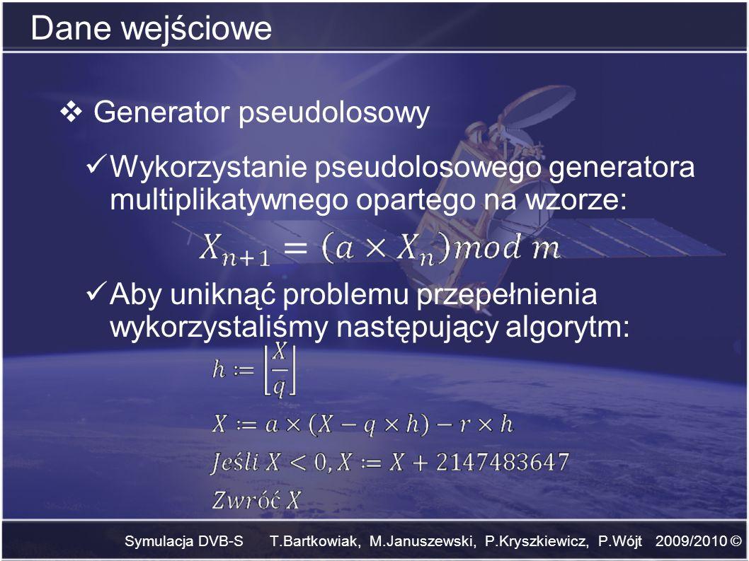 Dane wejściowe Generator pseudolosowy