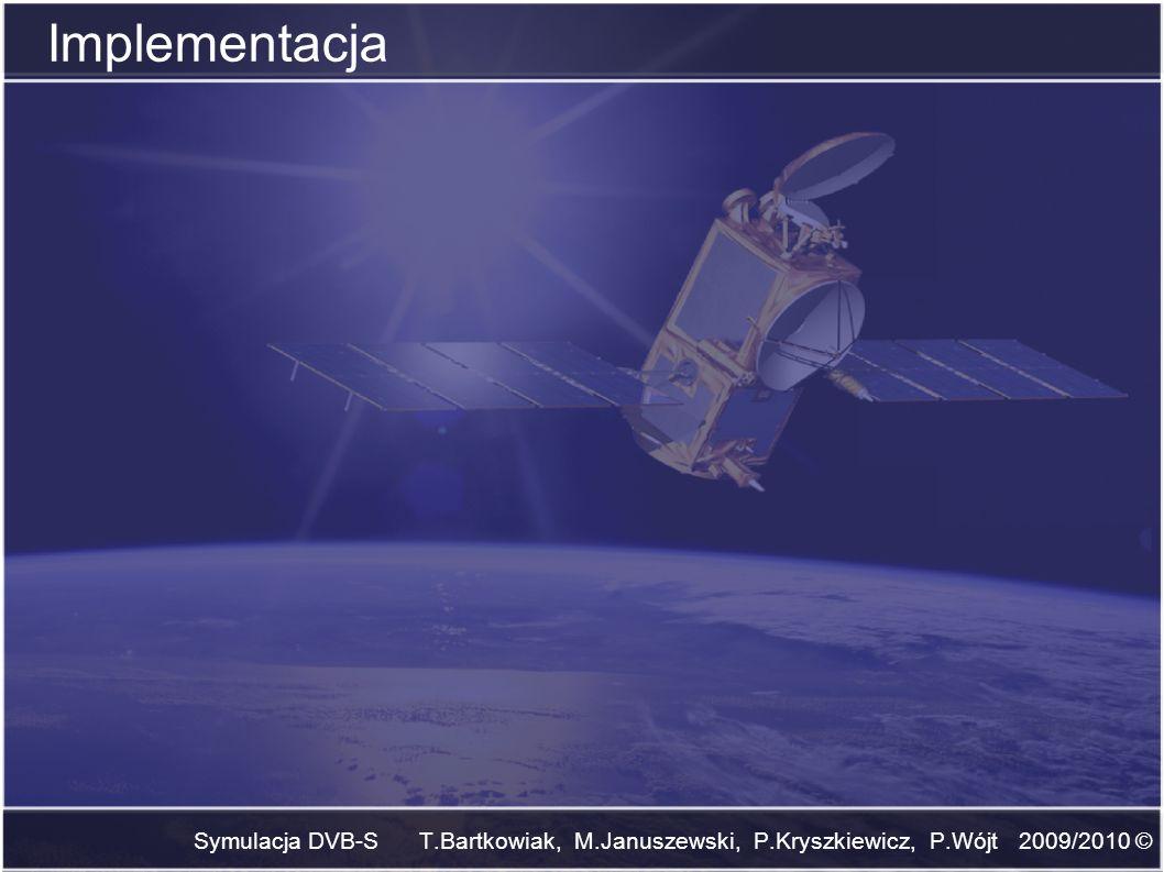 Implementacja Symulacja DVB-S T.Bartkowiak, M.Januszewski, P.Kryszkiewicz, P.Wójt 2009/2010 ©