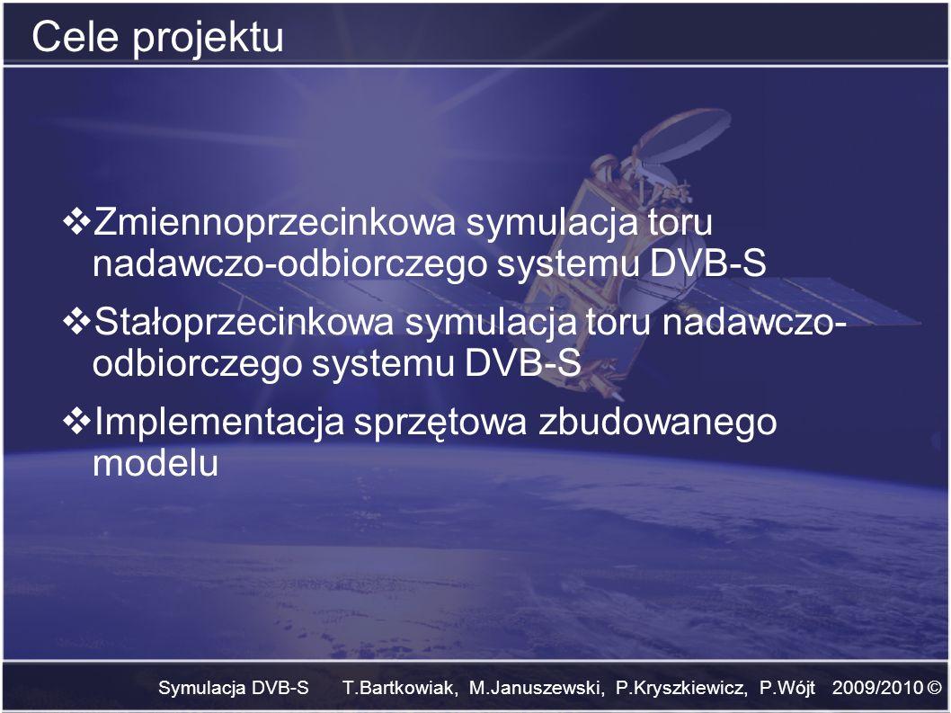 Cele projektuZmiennoprzecinkowa symulacja toru nadawczo-odbiorczego systemu DVB-S.