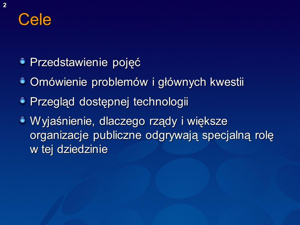 Cele Przedstawienie pojęć Omówienie problemów i głównych kwestii