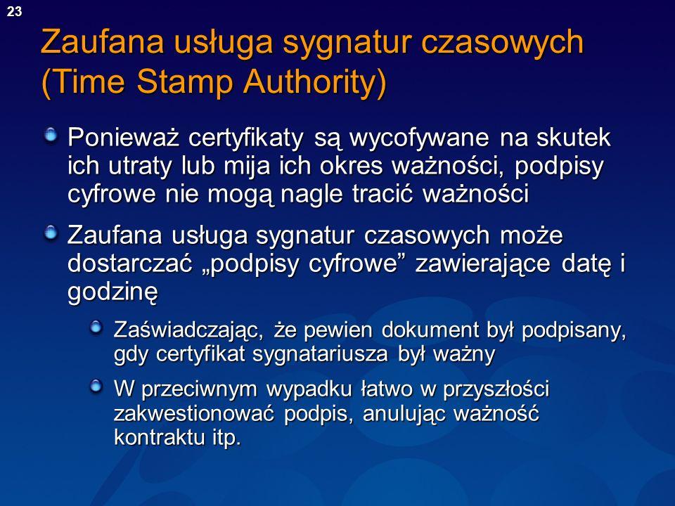 Zaufana usługa sygnatur czasowych (Time Stamp Authority)