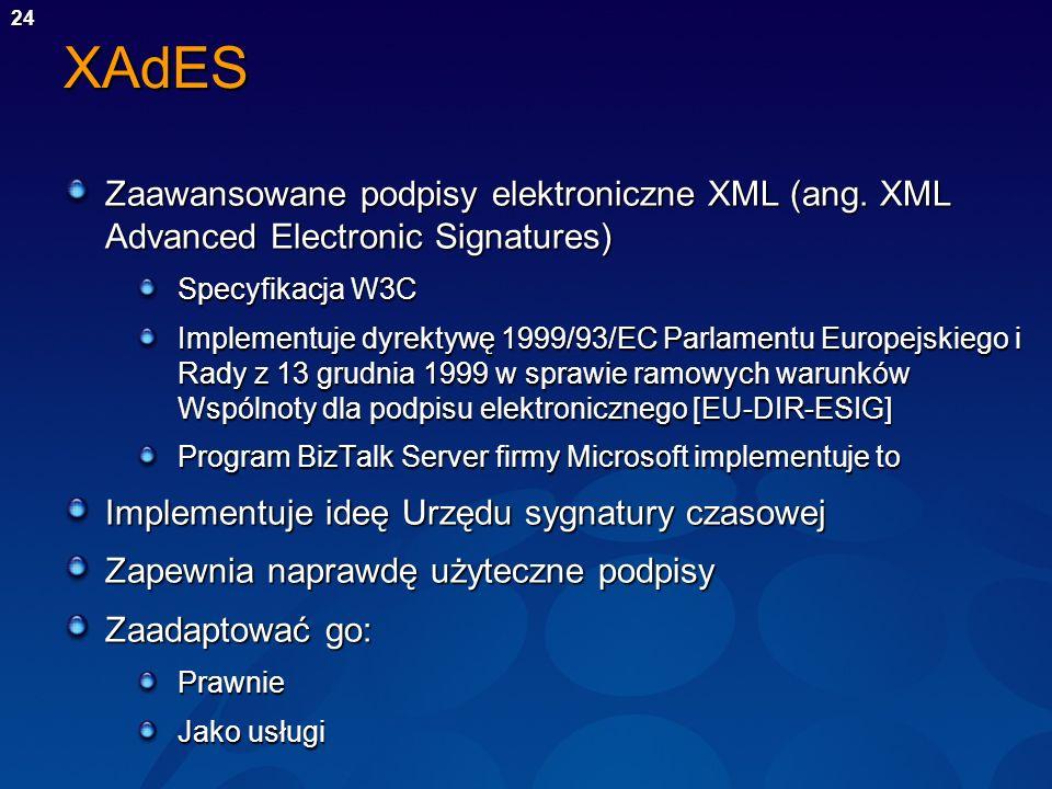 XAdES Zaawansowane podpisy elektroniczne XML (ang. XML Advanced Electronic Signatures) Specyfikacja W3C.
