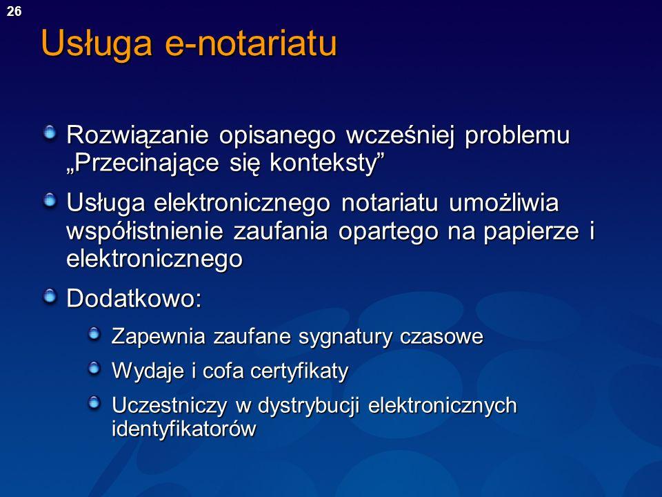 """Usługa e-notariatu Rozwiązanie opisanego wcześniej problemu """"Przecinające się konteksty"""