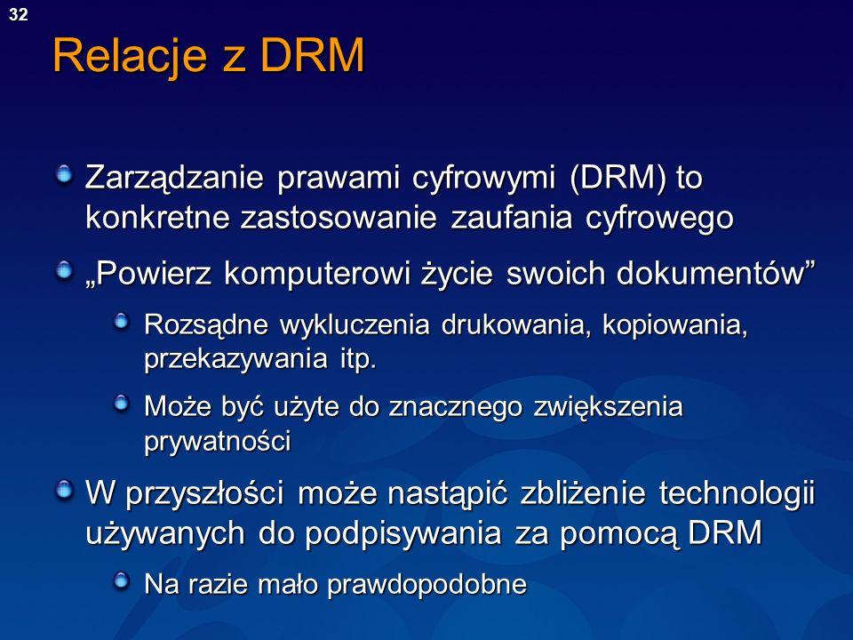 """Relacje z DRM Zarządzanie prawami cyfrowymi (DRM) to konkretne zastosowanie zaufania cyfrowego. """"Powierz komputerowi życie swoich dokumentów"""