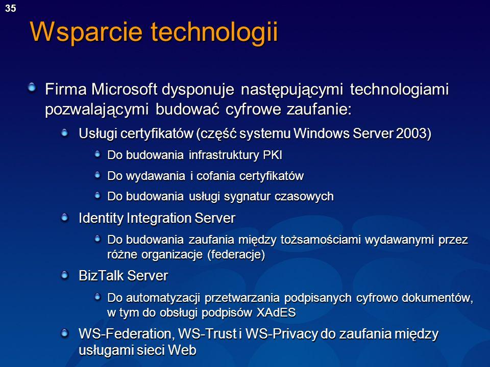 Wsparcie technologii Firma Microsoft dysponuje następującymi technologiami pozwalającymi budować cyfrowe zaufanie: