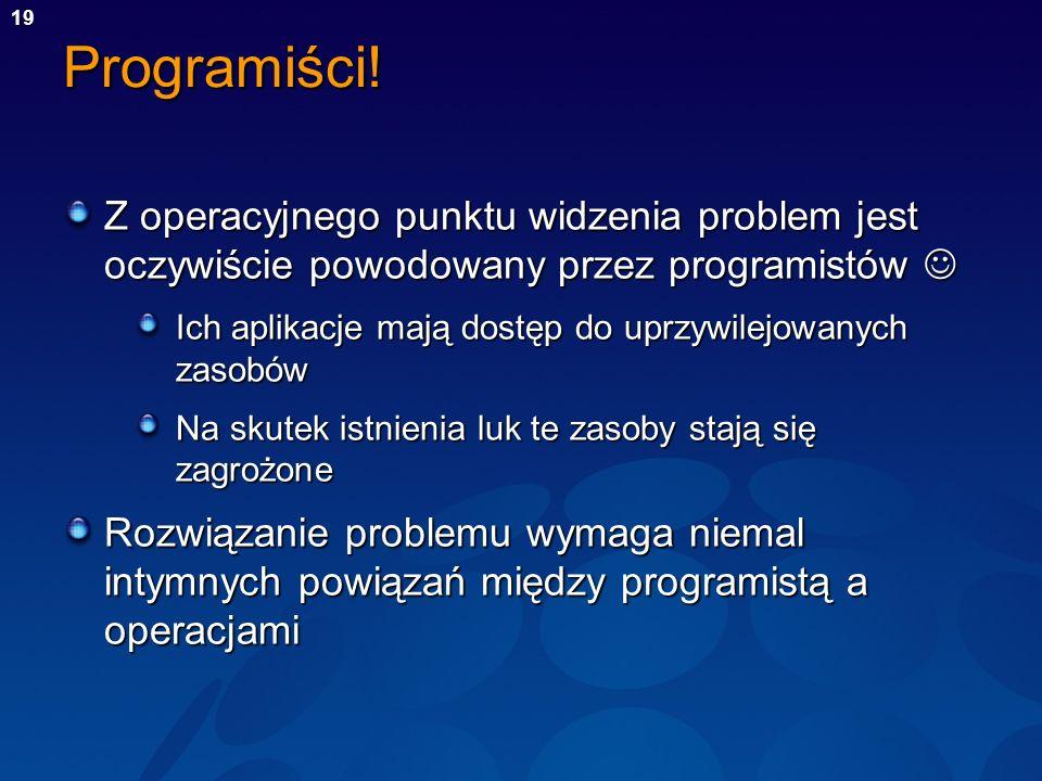 Programiści! Z operacyjnego punktu widzenia problem jest oczywiście powodowany przez programistów 