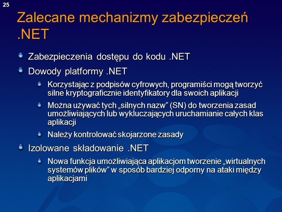 Zalecane mechanizmy zabezpieczeń .NET