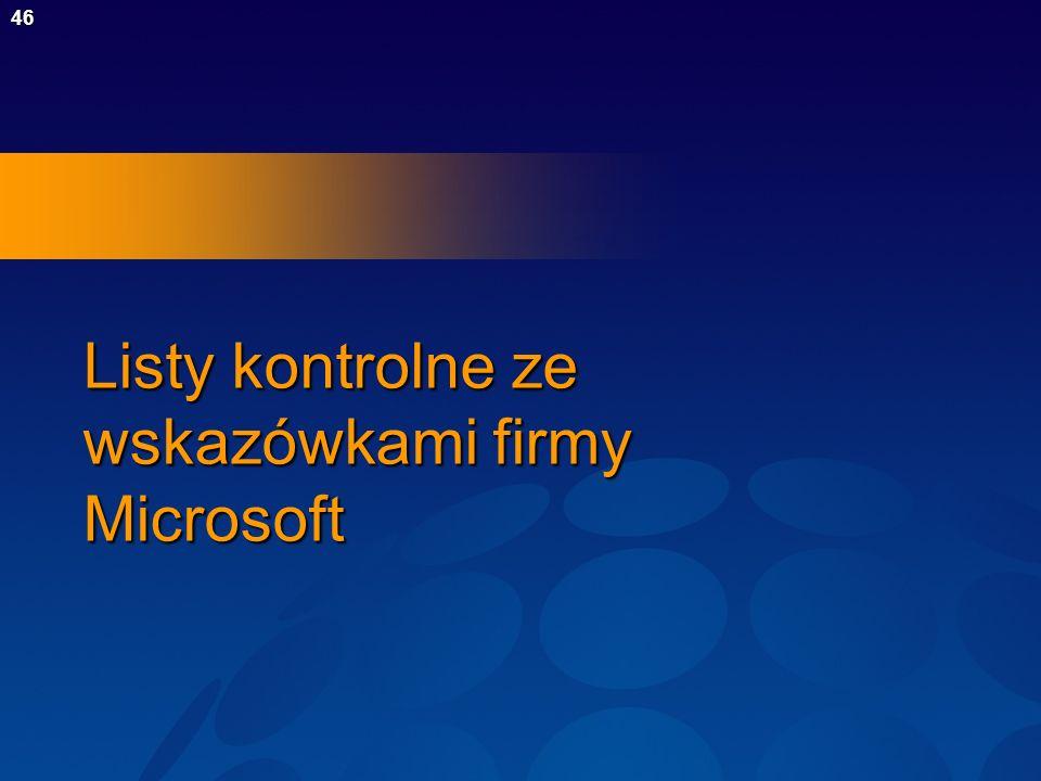Listy kontrolne ze wskazówkami firmy Microsoft