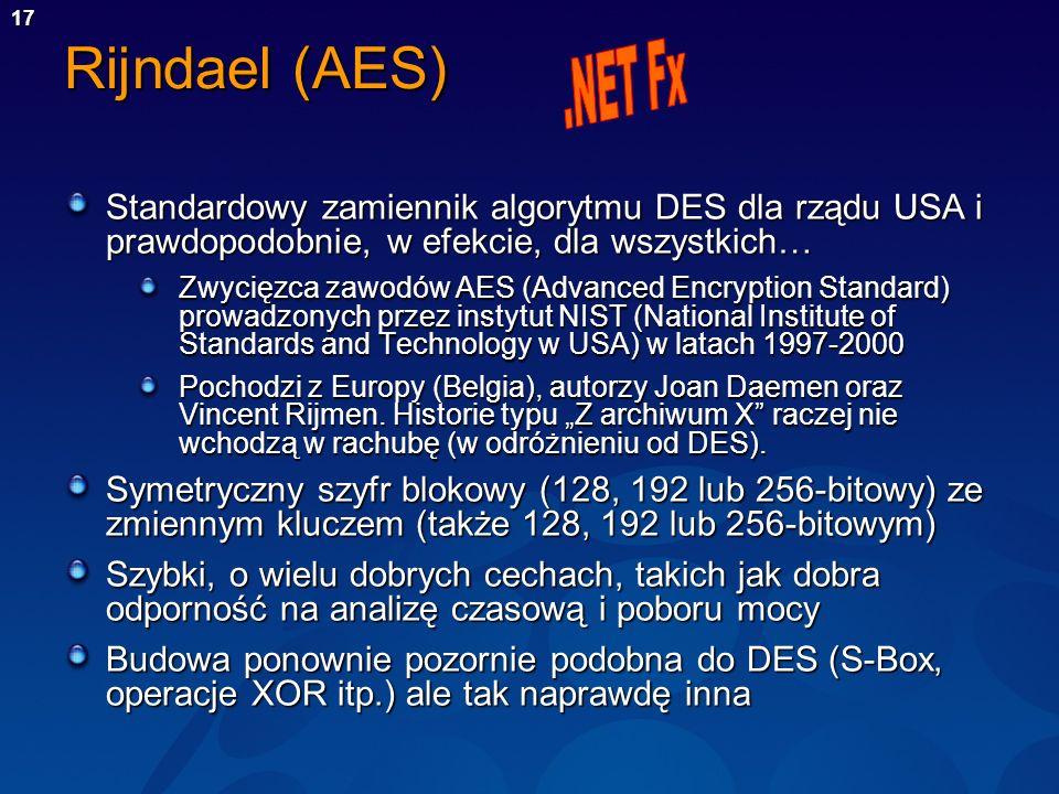 Rijndael (AES) .NET Fx. Standardowy zamiennik algorytmu DES dla rządu USA i prawdopodobnie, w efekcie, dla wszystkich…