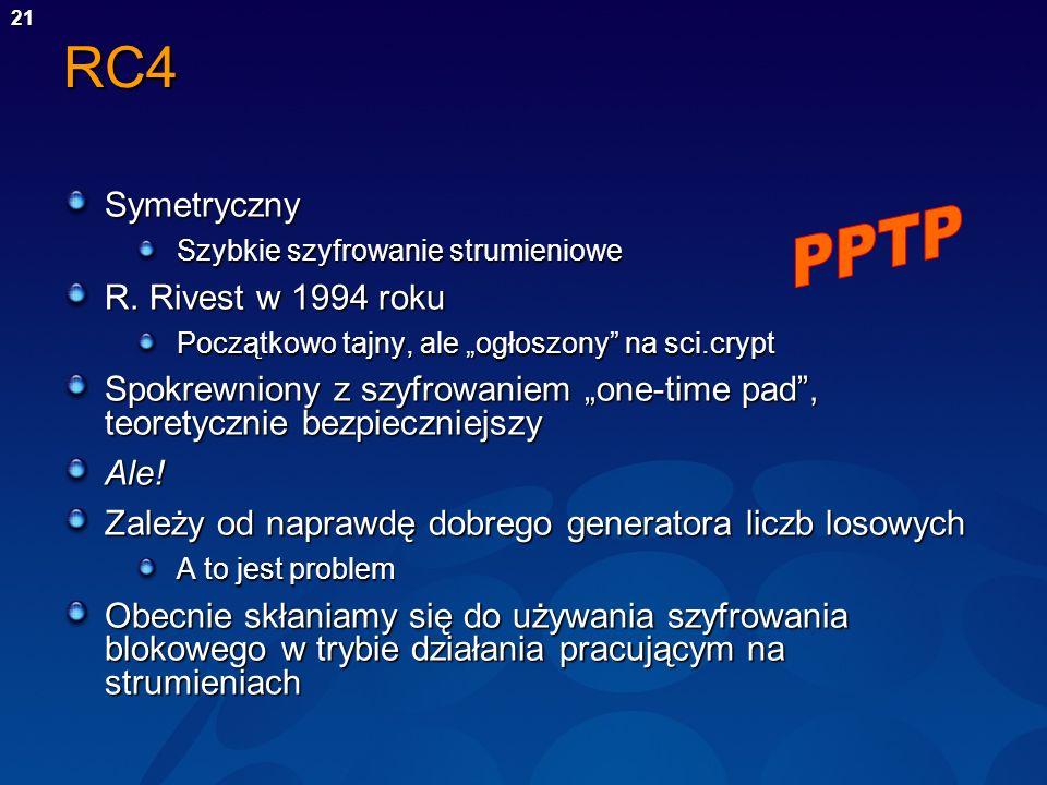 RC4 Symetryczny PPTP R. Rivest w 1994 roku