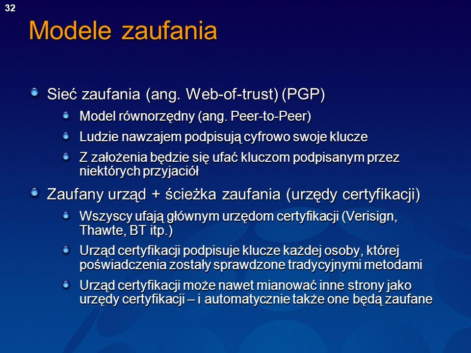Modele zaufania Sieć zaufania (ang. Web-of-trust) (PGP)