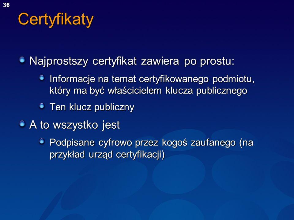Certyfikaty Najprostszy certyfikat zawiera po prostu: