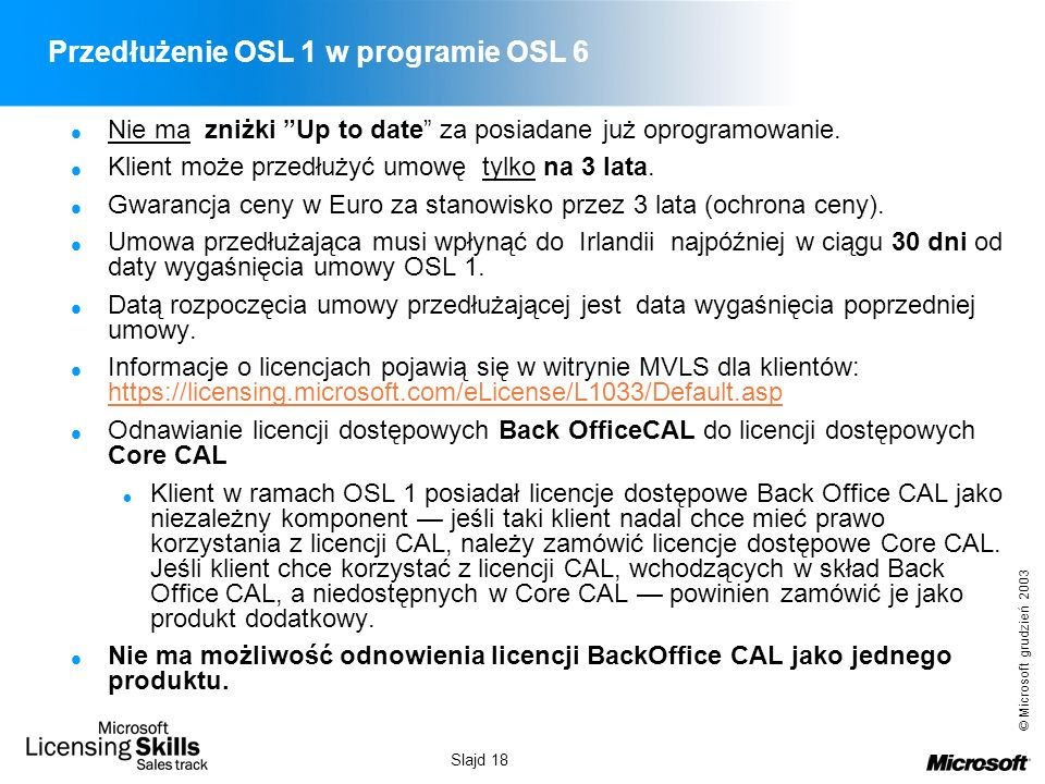 Przedłużenie OSL 1 w programie OSL 6