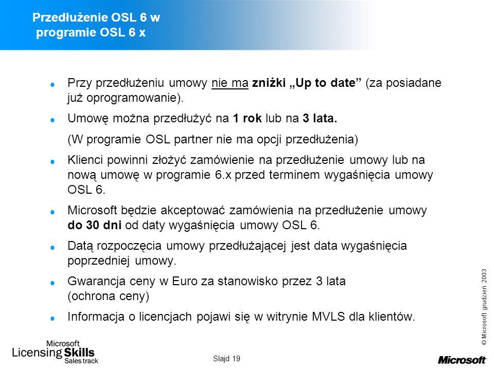 Przedłużenie OSL 6 w programie OSL 6 x
