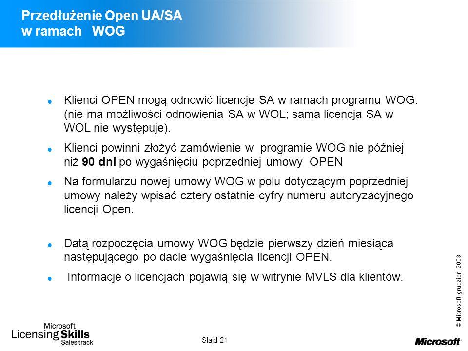 Przedłużenie Open UA/SA w ramach WOG