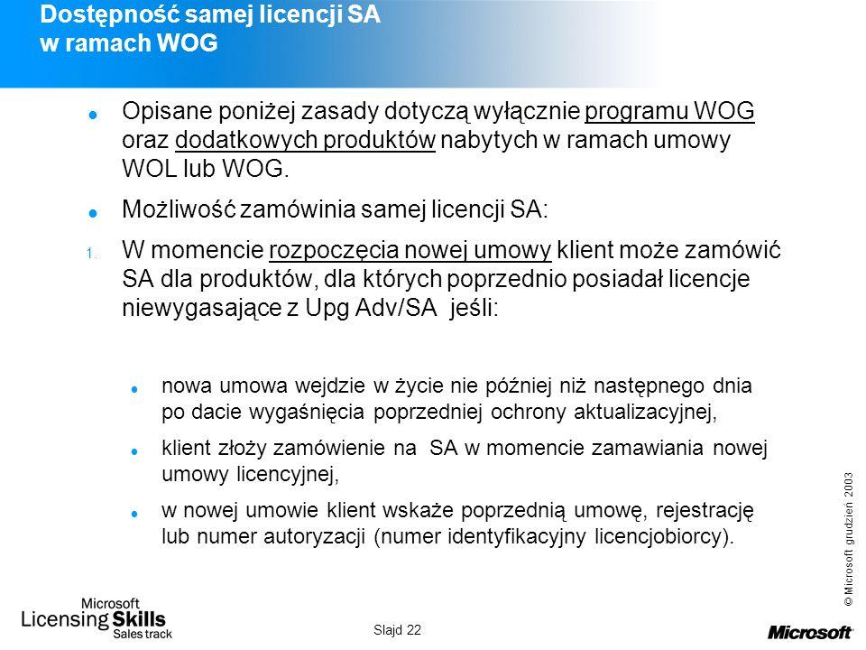 Dostępność samej licencji SA w ramach WOG