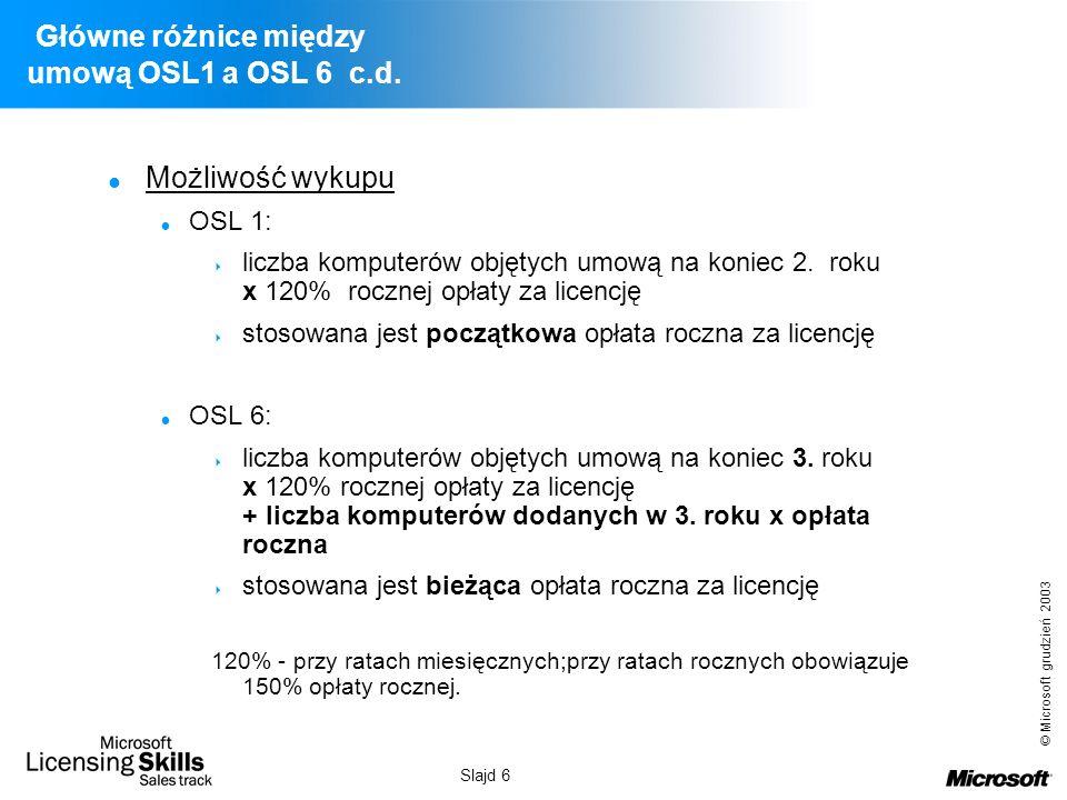 Główne różnice między umową OSL1 a OSL 6 c.d.