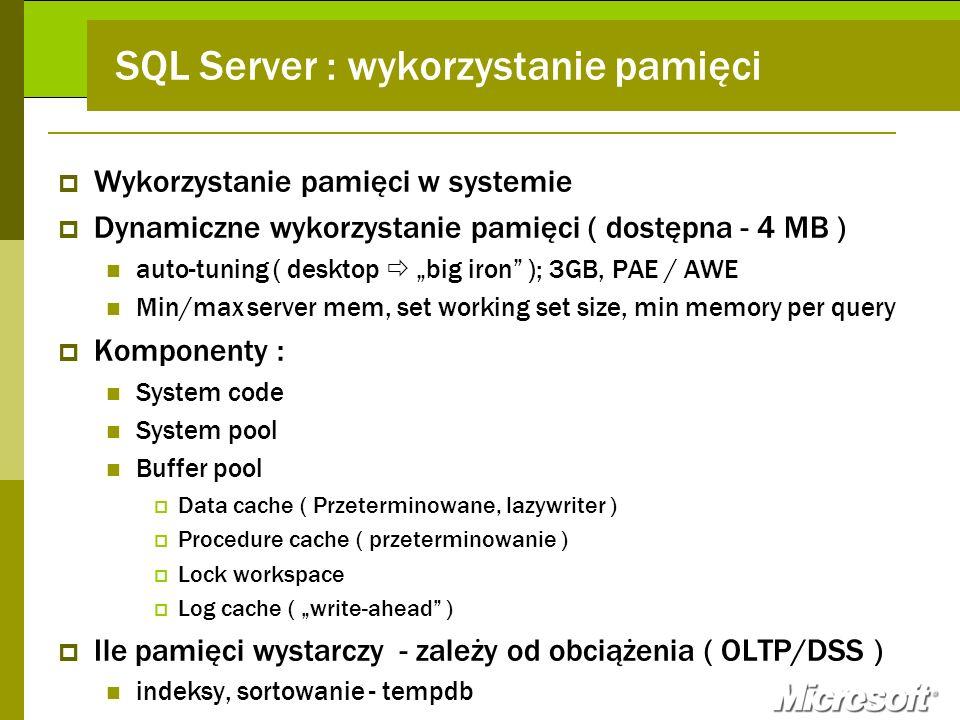 SQL Server : wykorzystanie pamięci