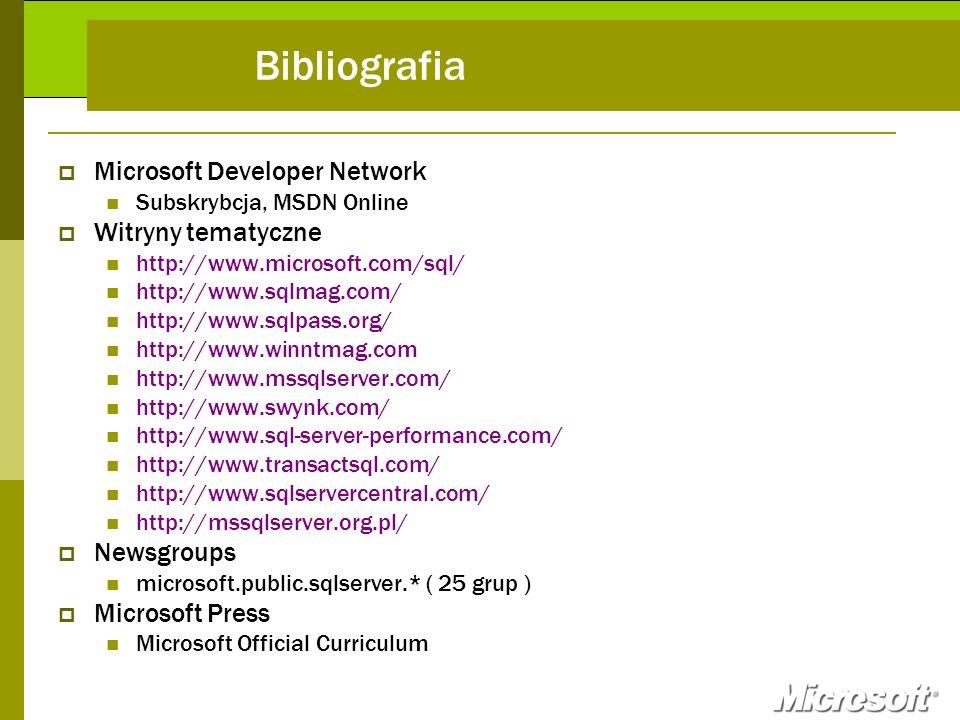 Bibliografia Microsoft Developer Network Witryny tematyczne Newsgroups