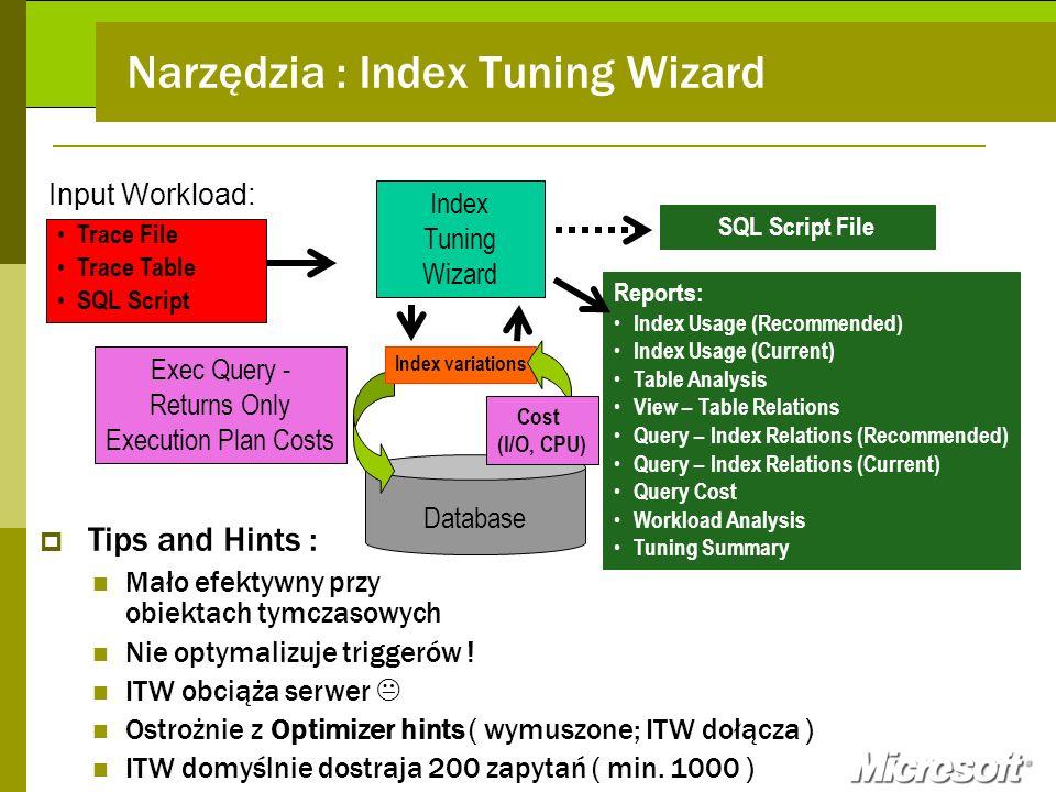 Narzędzia : Index Tuning Wizard