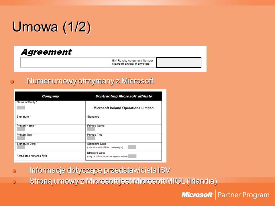 Umowa (1/2) Numer umowy otrzymany z Microsoft