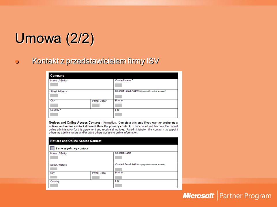Umowa (2/2) Kontakt z przedstawicielem firmy ISV