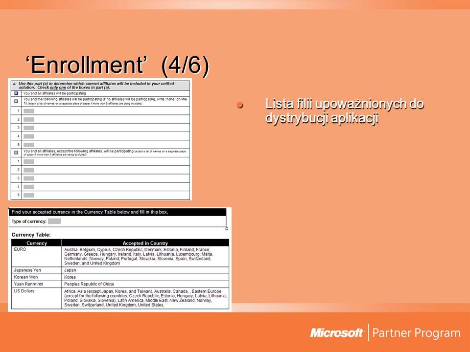 'Enrollment' (4/6) Lista filii upoważnionych do dystrybucji aplikacji