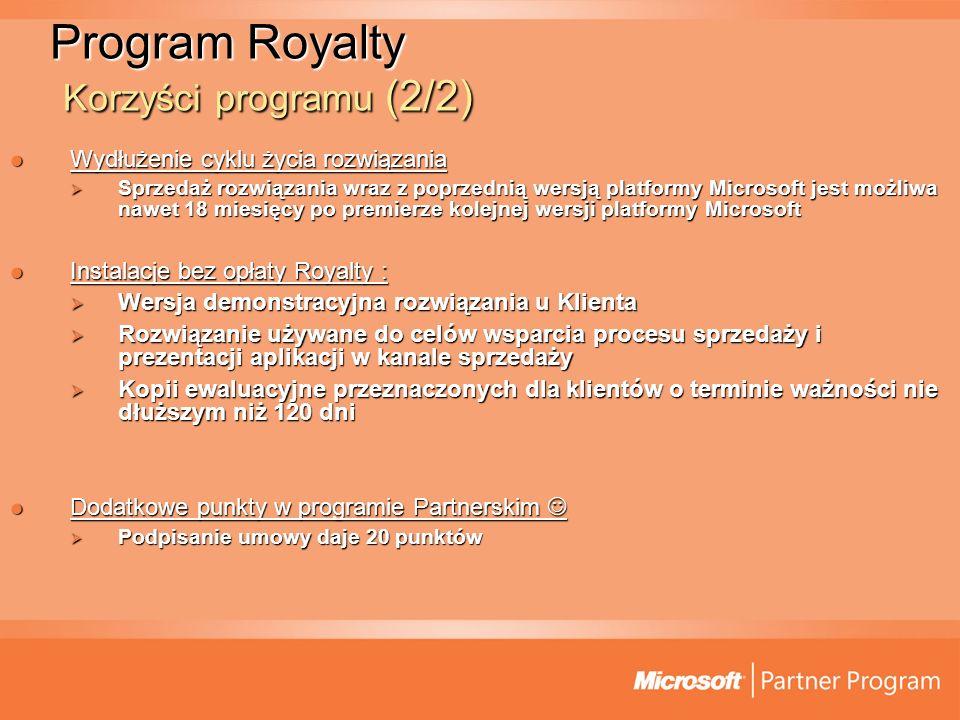 Program Royalty Korzyści programu (2/2)