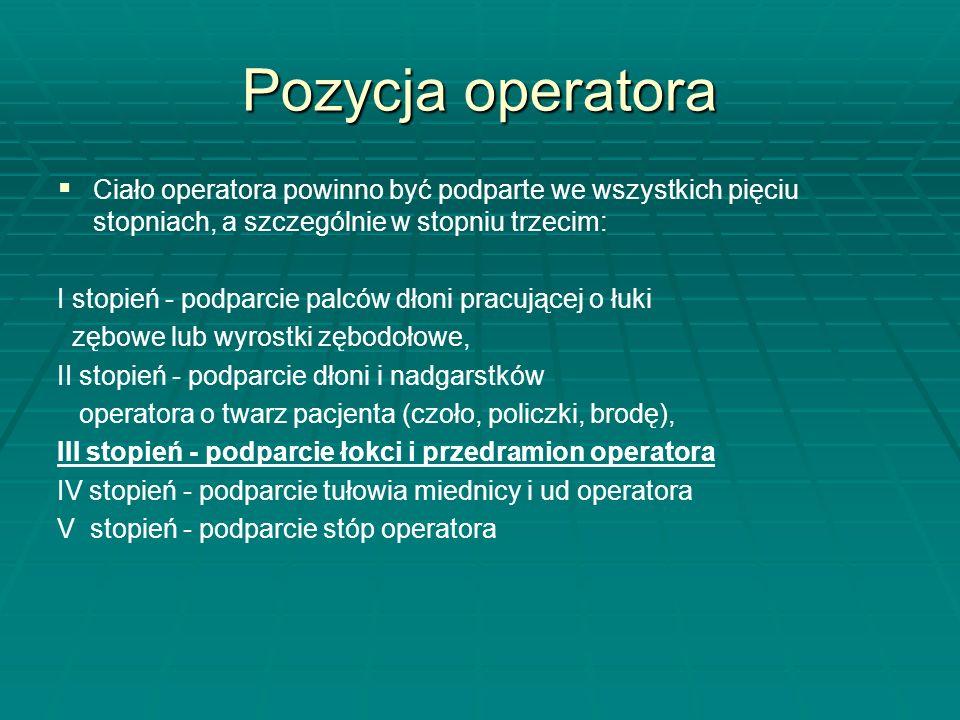 Pozycja operatora Ciało operatora powinno być podparte we wszystkich pięciu stopniach, a szczególnie w stopniu trzecim: