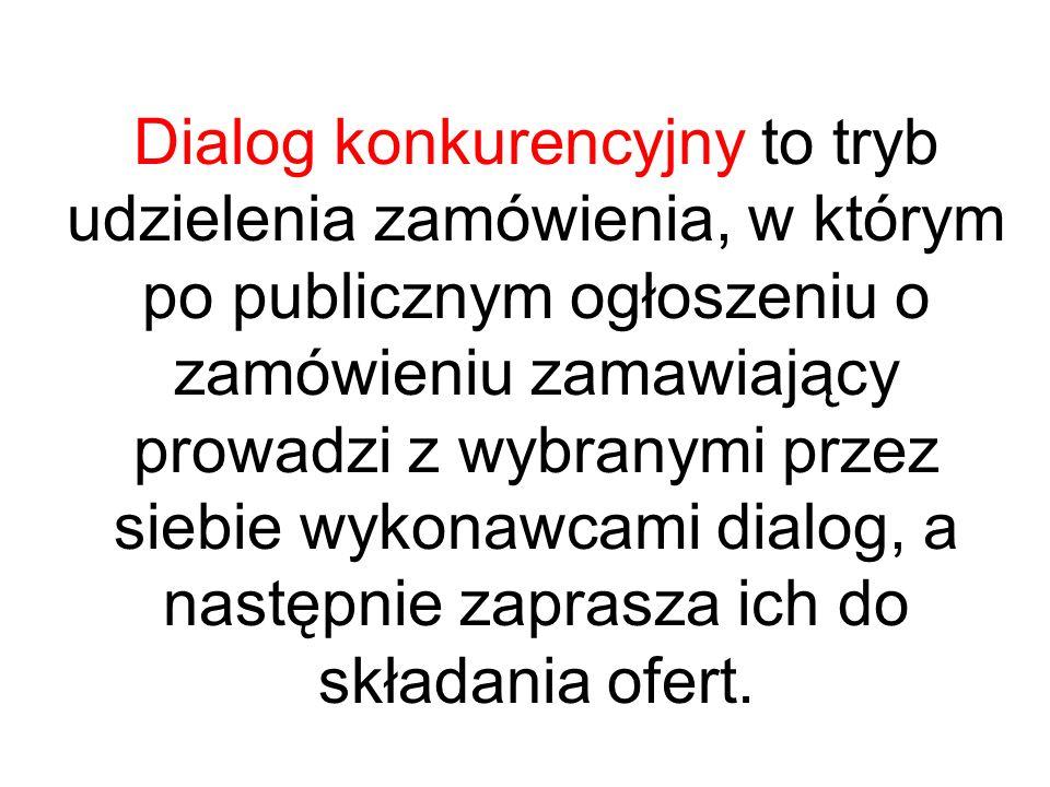 Dialog konkurencyjny to tryb udzielenia zamówienia, w którym po publicznym ogłoszeniu o zamówieniu zamawiający prowadzi z wybranymi przez siebie wykonawcami dialog, a następnie zaprasza ich do składania ofert.