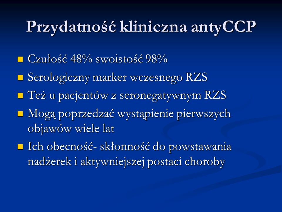 Przydatność kliniczna antyCCP