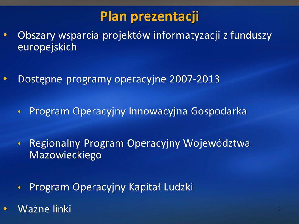 3/24/2017 12:36 AM Plan prezentacji. Obszary wsparcia projektów informatyzacji z funduszy europejskich.