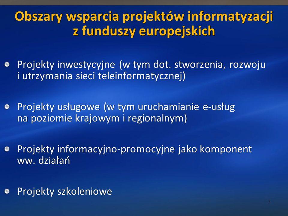 Obszary wsparcia projektów informatyzacji z funduszy europejskich